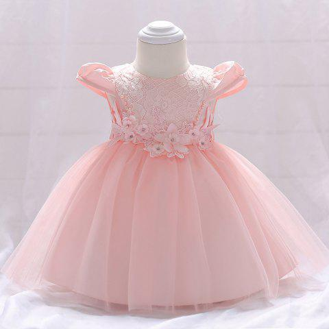 L1842XZ Flower Princess Dress Toddler Baby Bright Bead Cap Sleeve Lace Gown - PIG PINK 12-24MONTH