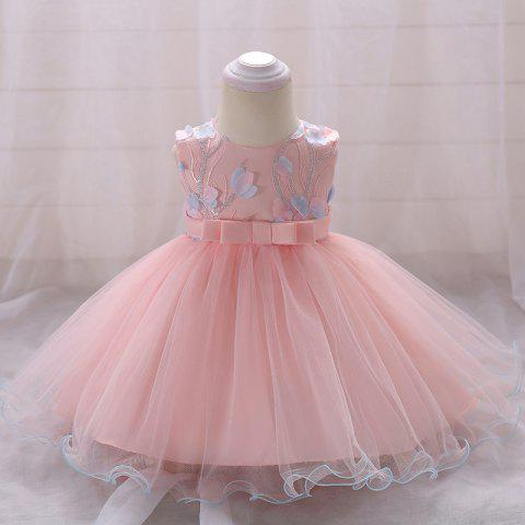 L1848XZ Baby Bowknot Dress Sleeveless Princess Girl Petal Mesh Skirt - PINK 12 - 24 MONTH
