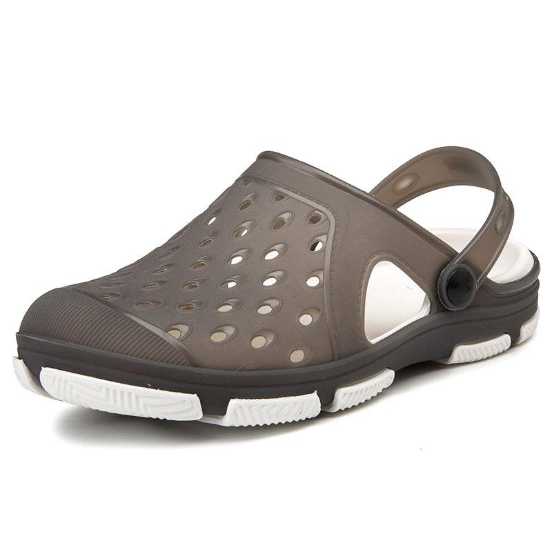 Summer Men Jelly Shoes Hollow out Sandals Slippers - GRAY EU 42