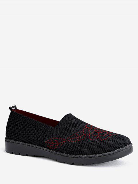 Floral Print Knitted Loafer Flat Shoes - BLACK EU 38
