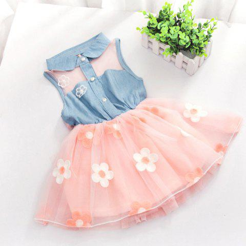 Cute Little Girl Flower Fashionable Lace Denim Dress - PINK 2YEARS