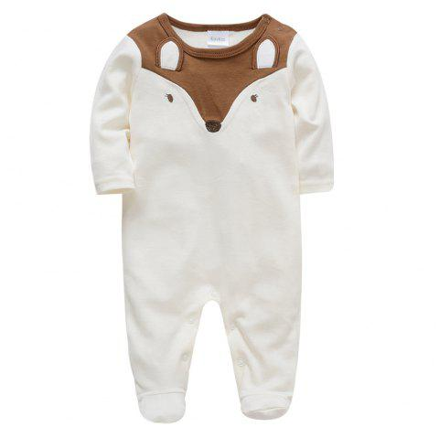 B - 013 Cotton Fox Baby Romper Bodysuits Jumpsuits - WHITE 3 - 6 MONTHS