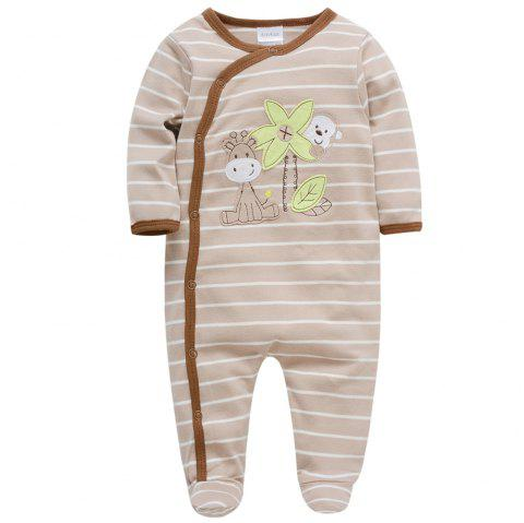 B - 012 Cotton Stripe Baby Romper Bodysuits Jumpsuits - TAN 9 - 12 MONTHS