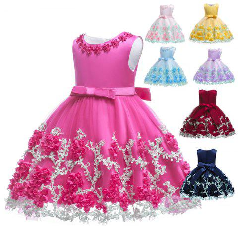 B - 8343 Newborn Bowknot Baby Princess Dress - ROSE RED 7 - 12 MONTHS