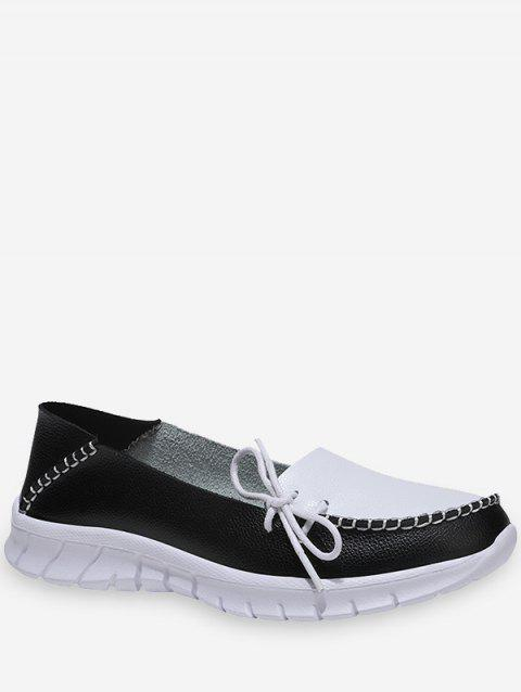 Side Bow Two Tone Loafer Shoes - BLACK EU 38