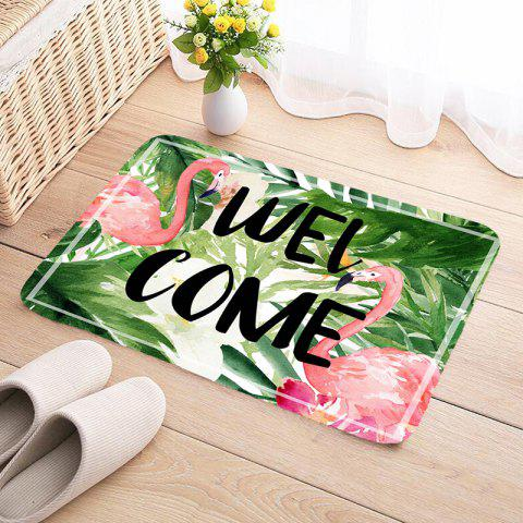 Shanghaojupin Flamingo Flower Flannel Anti-slip Floor Mat - MEDIUM FOREST GREEN W24 X L71 INCH
