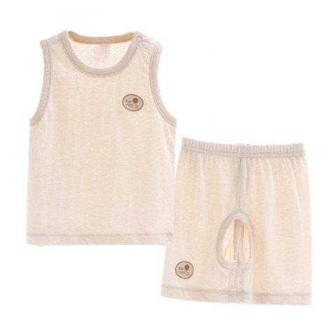 Mint Cotton MC3015 Cotton Baby Vest Open Trousers Suit - BLANCHED ALMOND 2~3YEARS