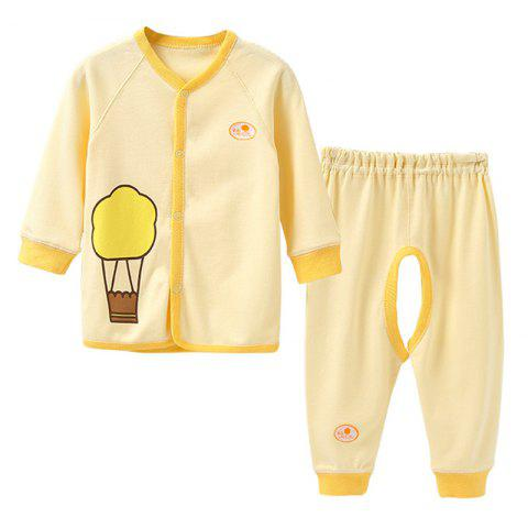Mint Cotton MC3020 Baby Color Cotton Front Button Set - YELLOW 3~6MONTHS