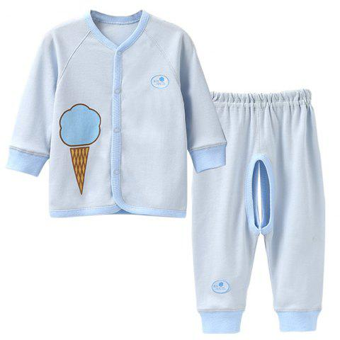 Mint Cotton MC3020 Baby Color Cotton Front Button Set - LIGHT BLUE 6~9MONTHS