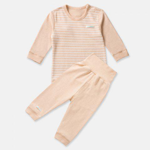Mint Cotton MC3001 Baby Colored-cotton Shoulder Button High-waisted Newborn Suit - DEEP PEACH 2 - 3 YEARS OLD