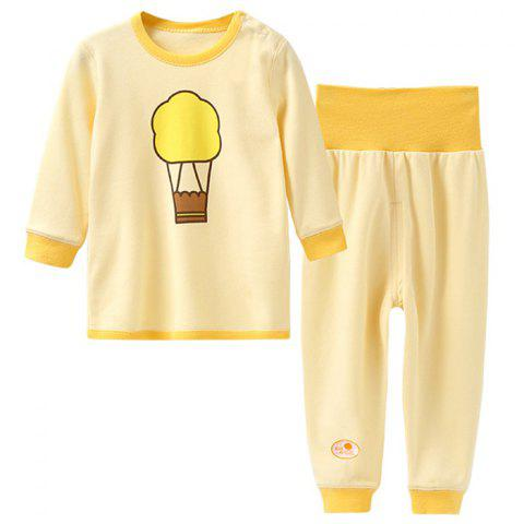 Mint Cotton MC3016 Colored-cotton Newborn Baby Shoulder Button Set - YELLOW 1 - 2 YEARS OLD