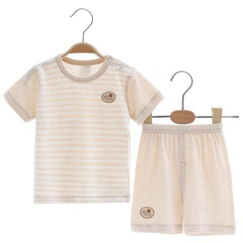 Mint Cotton MC3012 Cotton Short Sleeve Shoulder Buckle Design Baby Suit - BLANCHED ALMOND 2~3YEARS