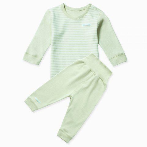 Mint Cotton MC3001 Baby Colored-cotton Shoulder Button High-waisted Newborn Suit - MINT GREEN 1 - 2 YEARS OLD