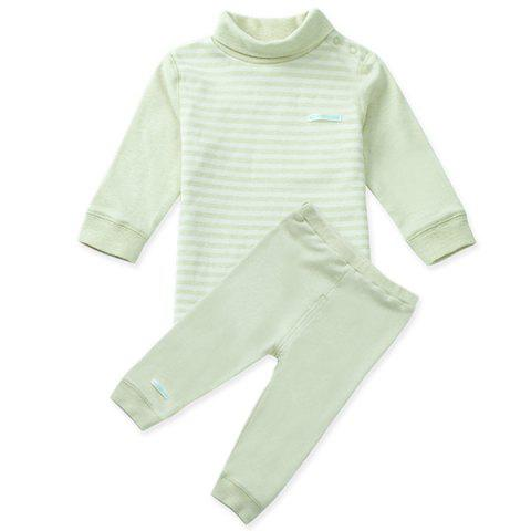 Mint Cotton MC3002 Baby High Collar Shoulder Buckle Newborn Clothing Suit - MINT GREEN 1~2YEARS