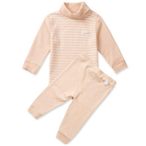 Mint Cotton MC3002 Baby High Collar Shoulder Buckle Newborn Clothing Suit - KHAKI 2~3YEARS