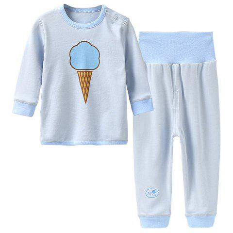 Mint Cotton MC3016 Colored-cotton Newborn Baby Shoulder Button Set - LIGHT BLUE 3 - 6 MONTHS