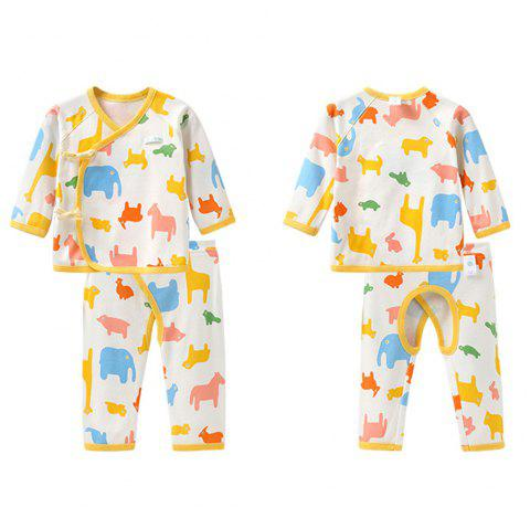Mint Cotton MC3019 Baby Color Cotton Newborn Strap Suit - YELLOW 1~3MONTHS