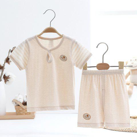 Mint Cotton MC3013 Baby Newborn Short-sleeved Dual-use Suit - TAN 6 - 9 MONTHS