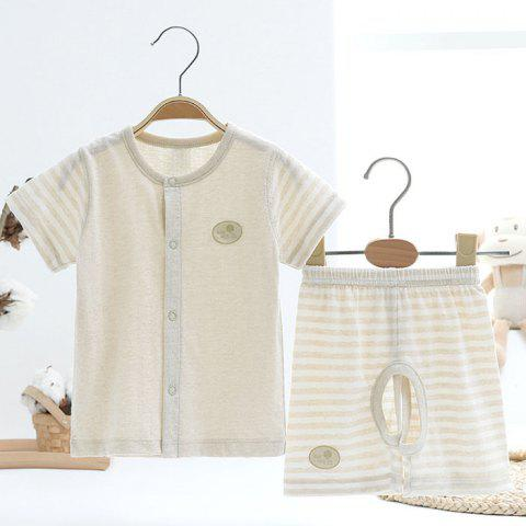 Mint Cotton MC3010 Baby Cotton Newborn Short Sleeve Front Button Suit - CORNSILK 9~12MONTH