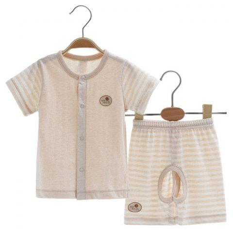 Mint Cotton MC3010 Baby Cotton Newborn Short Sleeve Front Button Suit - CHAMPAGNE 6~9MONTH