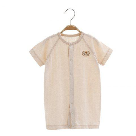 Mint Cotton MC5005 Baby Color Cotton Short Sleeve Jumpsuit - KHAKI 6~9MONTHS