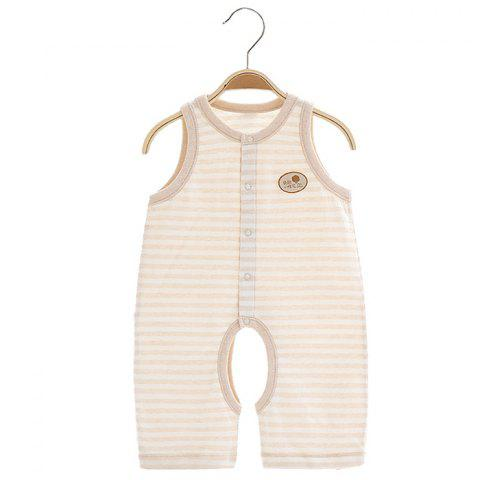 Mint Cotton MC5007 Baby Color Cotton Vest Jumpsuit - KHAKI 3~6MONTHS