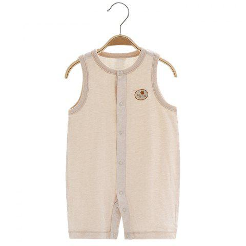 Mint Cotton MC5008 Baby Color Cotton Front Button Vest Jumpsuit - KHAKI 6~9MONTHS