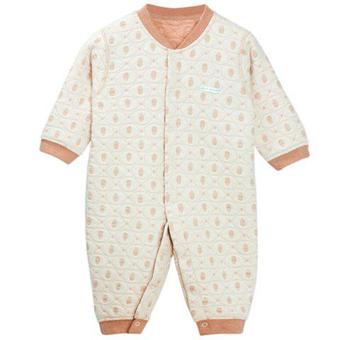 Mint Cotton MC5004 Baby Color Cotton Front Buckle Thicker Jumpsuit - KHAKI 1~2YEARS