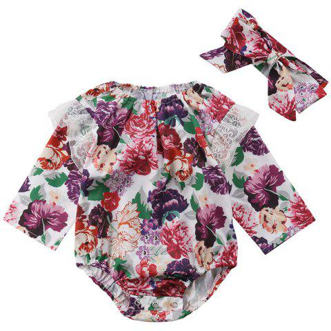 FT1589 Girl Digital Flower Print Stitching Lace Long Sleeve Triangle Romper + Hair Strap - DULL PURPLE 6-12MONTHS