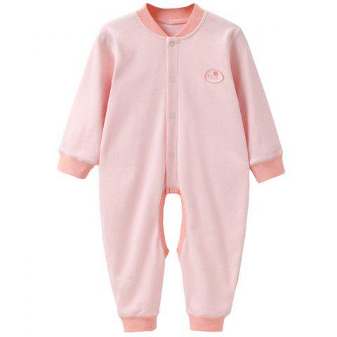 Mint Cotton MC5013 Baby Color Newborn Cotton Front Buttoned Jumpsuit - LIGHT PINK 3~6MONTHS
