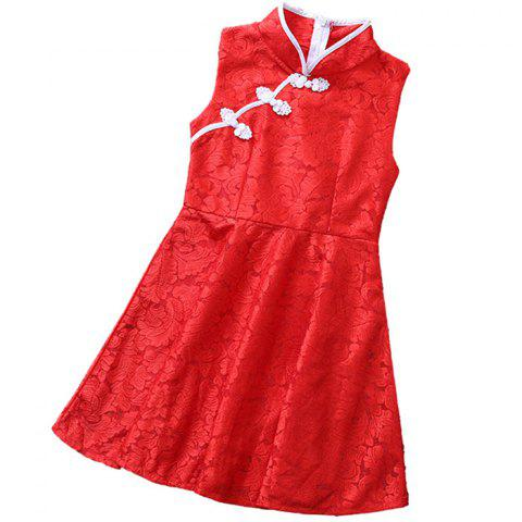 KH0286 Summer Retro Fashion Girls Lace Chinese Style Cheongsam Dress - RED 10-11YEARS