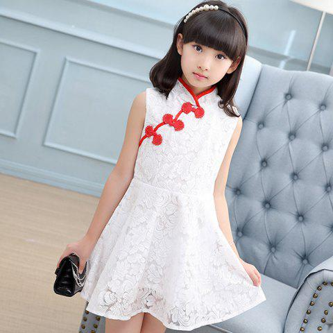 KH0257 Summer Girls Vintage Lace Cheongsam Dress - WHITE 5 - 6 YEARS