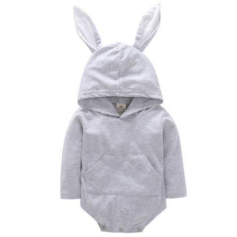 GKT08 Cute Rabbit Romper - GRAY GOOSE 3 - 6 MONTHS