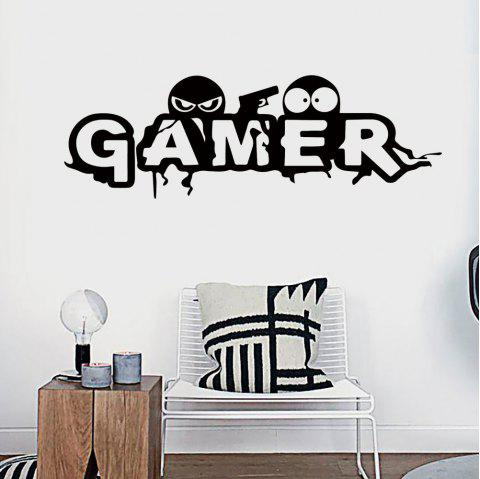 DX026 Cartoon Game Room Personality English Wall Sticker - BLACK