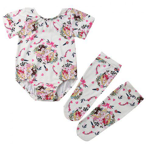 FT1761 Baby Girl Cute Cartoon Character Print Short-sleeved Triangle Romper + Socks Two-piece - multicolor A 12-18MONTHS