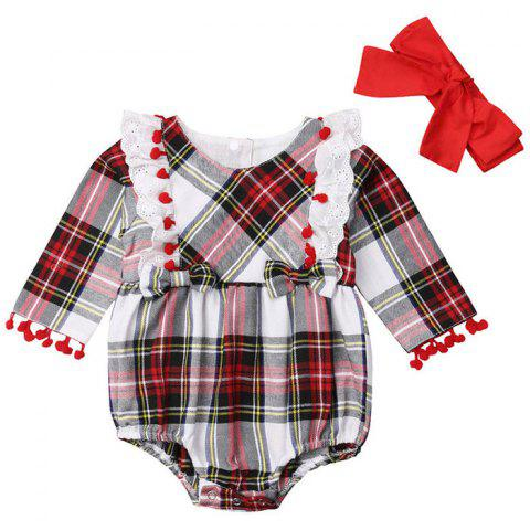 FT1725 Baby Girl Plaid Tassel Long Sleeve Robe + Hair Band Set - RED 18-24MONTHS