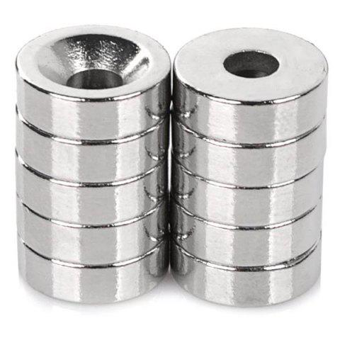 N35 NdFeB Round Single Hole Strong Magnet 10PCS - SILVER
