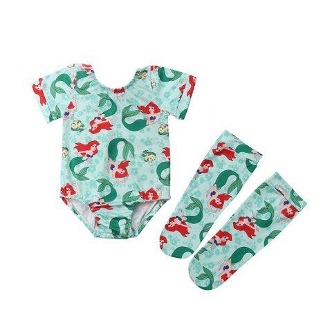 FT1761 Baby Girl Personality Cartoon Character Print Short-sleeved Triangle Sweater + Socks Two-piece - SKY BLUE 6-12MONTHS