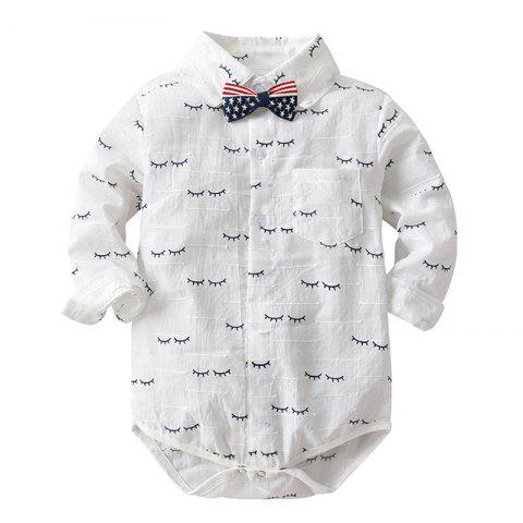 19F089 Long-sleeved Bow Tie Shirt Baby Romper - WHITE 9 - 12 MONTHS