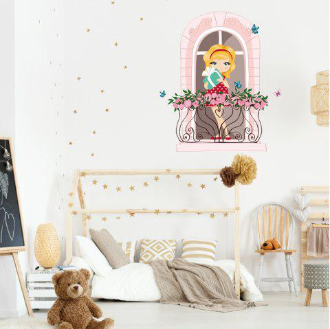 KM223 Cute Girl Bedroom Background Decorative Wall Sticker - multicolor