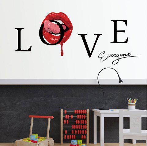 Y1591 Creative Love Red Lips English Wall Sticker - multicolor