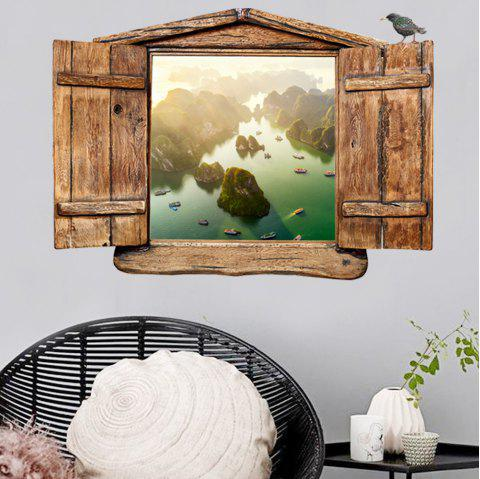KM234 Personality Creative Simulation 3D Landscape Scenery False Window Wall Stickers - multicolor