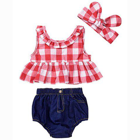 12 - YA114 Baby Plaid Shirt Denim Shorts Headband Three-piece - multicolor A 12-18MONTHS