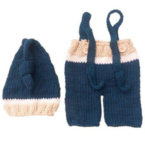 F1030 Baby European American Style Photography Props Wool Knitted Newborn Clothes - BLUE KOI 0-6MONTHS
