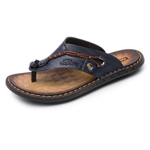 d1ac46670364 Summer Men Leather Sandals Flip Flops Soft Sole Slippers Beach Shoes - DARK  SLATE BLUE EU