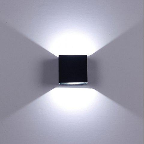 85 - 265V Aluminum Alloy Square LED Wall Light - BLACK 5700K-6500K