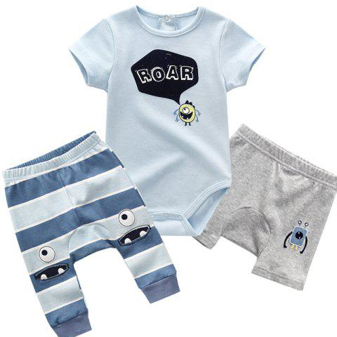 KIDDIEZOOM CSL3201 Baby Blue Short Sleeve Romper Pants Shorts Three-Piece - BLUE GRAY 6 - 9 MONTHS