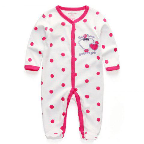 KIDDIEZOOM RFL1007 Baby Red Dot White Bottom Romper - WHITE 0 - 3 MONTHS