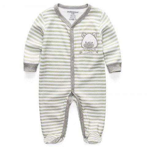 KIDDIEZOOM RFL1020 Baby Striped Bear Long Sleeve Romper - multicolor B 6 - 9 MONTHS