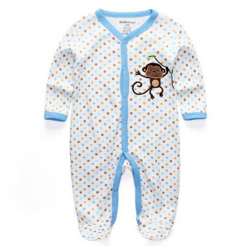 KIDDIEZOOM RFL1018 Bay Blue Monkey Long Sleeve Long Romper - CRYSTAL BLUE 9 - 12 MONTHS